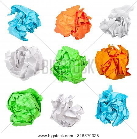 Various Crumpled Paper Balls Isolated On White Background