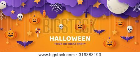 Happy Halloween Banner Or Party Invitation Background With Clouds, Bats And Pumpkins In Paper Cut St