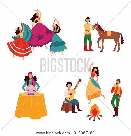 Gypsies Or Romani People Set Of Flat Vector Illustrations Isolated On Background.