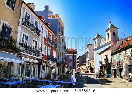 Lisbon, Portugal- 19 May, 2018: Old Colorful Houses And Streets Of Almada, Lisbon, Portugal In Sprin