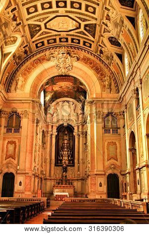 Lisbon, Portugal- March 20, 2019: Altar Of Nossa Senhora Da Encarnacao Church In Lisbon, Portugal