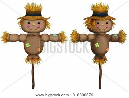 Front And Perspective View Of Cute Scarecrow Illustrations On White