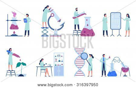 Working Scientists. Professional Lab Research, Chemistry Laboratory Workers And Science Researchers.
