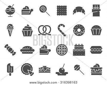 Desserts Silhouette Icon. Sweet Muffin Cakes, Dessert Ice Cream And Chocolate Pie. Wedding Or Birthd