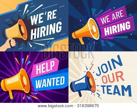 Now Hiring Banner. We Are Hiring, Join Our Team And Vacancy Announcement Flyer Template. Recruitment