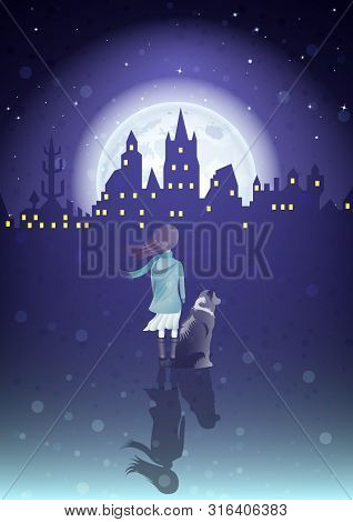 Girl With A Dog Under The Moonlight And Silhouette Old City , Rear View. Vector Illustration