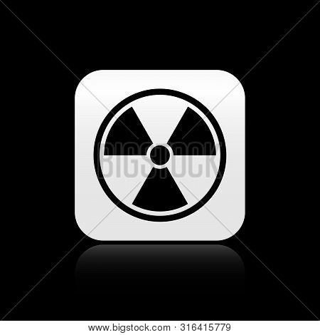 Black Radioactive Icon Isolated On Black Background. Radioactive Toxic Symbol. Radiation Hazard Sign