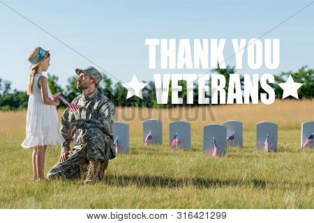 military man in cap sitting near child in straw hat and headstones in graveyard with thank you veterans illustration poster