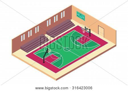 A Vector Illustration Of Isometric Basketball Indoor Court