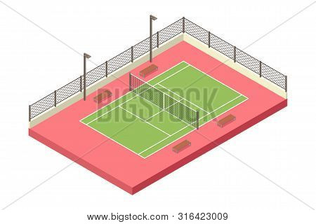 A Vector Illustration Of Isometric Tennis Outdoor Court