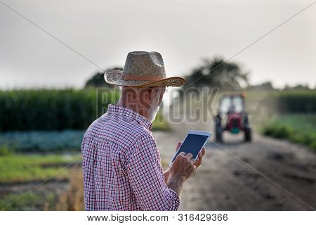 Senior Farmer With Hat Standing In Field And Holding Tablet. Tractor Drivingon Dirt Road In Backgrou