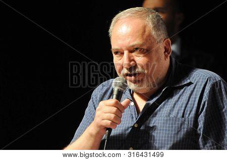 Holon, Israel. August 10, 2019. Avigdor Lieberman, Israeli Politician, Ex-minister, The Chairman Of