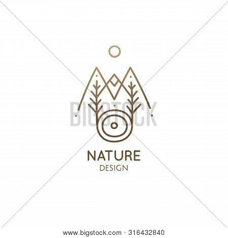 Modern Abstract Nature Logo. Natural Symbol Of Mountains, Lake, Tree, Sun. Vector Linear Illustratio
