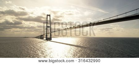 Oresund Bridge Going From Denmark To Norway Shot From A Boat
