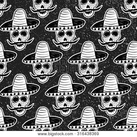 Black And White Seamless Pattern With A Hand-drawn Man Sugar Skull Dedicated To Traditional Mexican