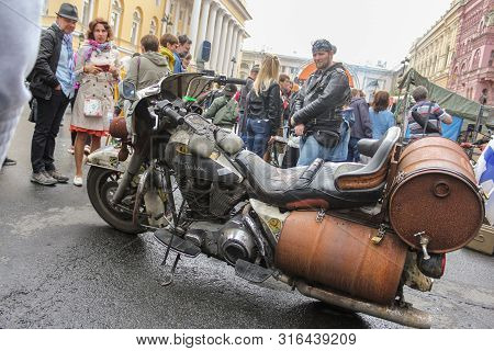 St. Petersburg, Russia - 3 August, Retro Bike Harley Davidson, 3 August, 2019. The Annual Festival O