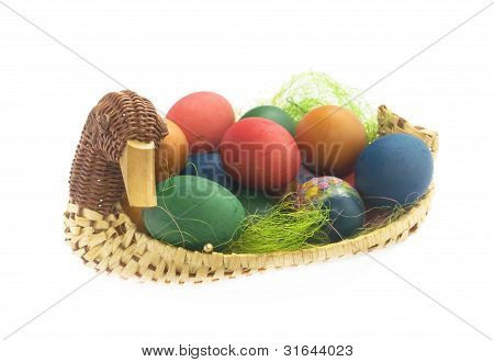 Multi-coloured Eggs In Basket