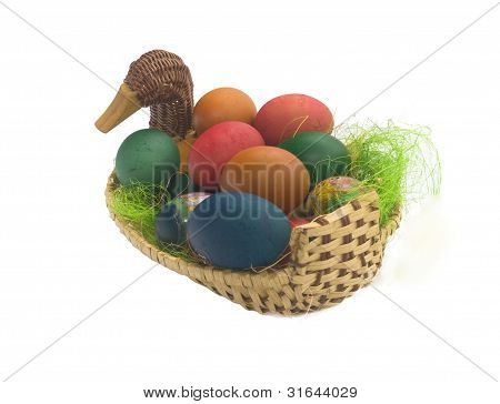 Multit-coloured Painted Eggs In Basket