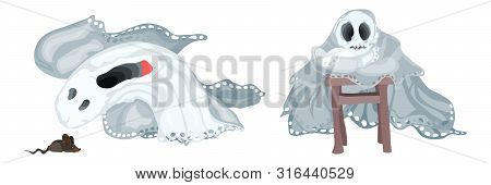 Ghosts Miss And Have Fun Bright Afterlife On A White Background