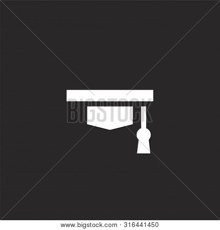 Cap Icon. Cap Icon Vector Flat Illustration For Graphic And Web Design Isolated On Black Background