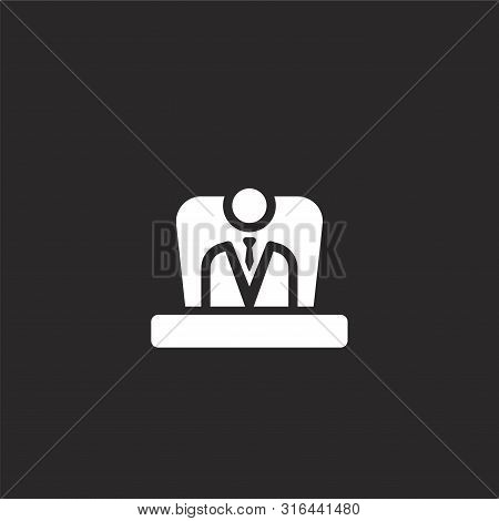 Boss Icon. Boss Icon Vector Flat Illustration For Graphic And Web Design Isolated On Black Backgroun