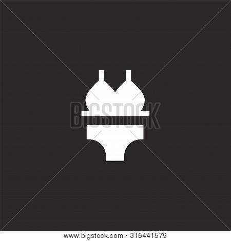Bikini Icon. Bikini Icon Vector Flat Illustration For Graphic And Web Design Isolated On Black Backg