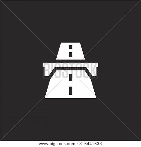 Highway Icon. Highway Icon Vector Flat Illustration For Graphic And Web Design Isolated On Black Bac
