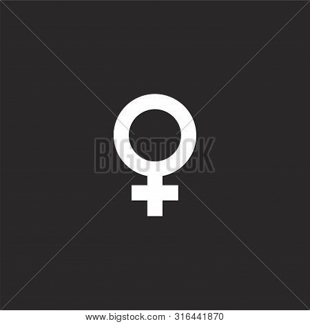 Female Icon. Female Icon Vector Flat Illustration For Graphic And Web Design Isolated On Black Backg