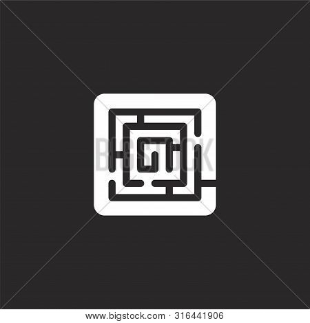 Maze Icon. Maze Icon Vector Flat Illustration For Graphic And Web Design Isolated On Black Backgroun