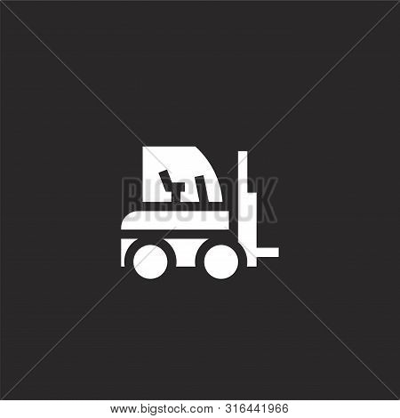 Forklift Icon. Forklift Icon Vector Flat Illustration For Graphic And Web Design Isolated On Black B