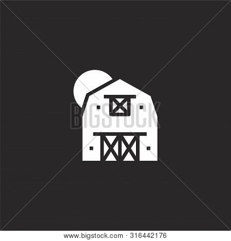 Farm Icon. Farm Icon Vector Flat Illustration For Graphic And Web Design Isolated On Black Backgroun