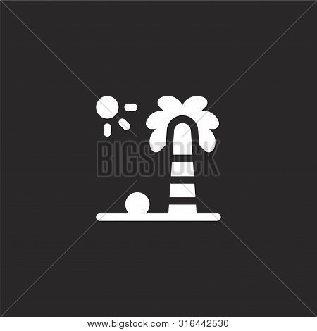 Palm Tree Icon. Palm Tree Icon Vector Flat Illustration For Graphic And Web Design Isolated On Black