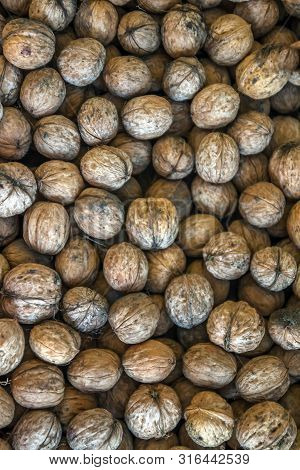 Natural Walnut Background Pattern Texture Abstract Walnuts Heap Pattern Background Blurred Edges Fra