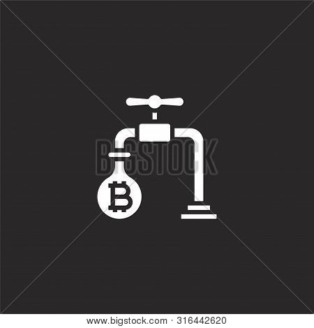 Faucet Icon. Faucet Icon Vector Flat Illustration For Graphic And Web Design Isolated On Black Backg