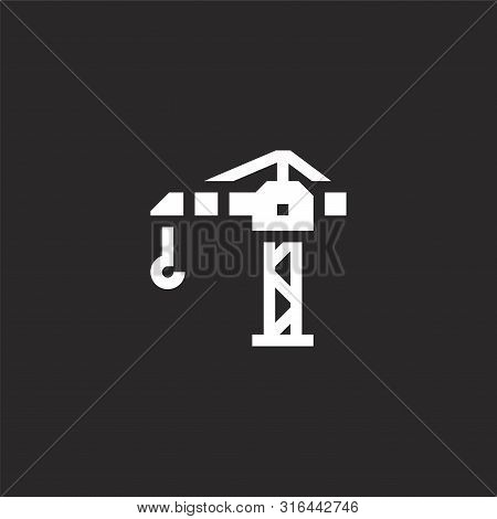 Tower Crane Icon. Tower Crane Icon Vector Flat Illustration For Graphic And Web Design Isolated On B