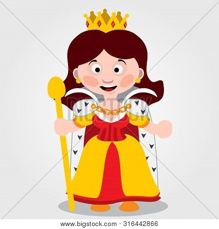 Queen, Fairy Tale Character, Color Vector Illustration