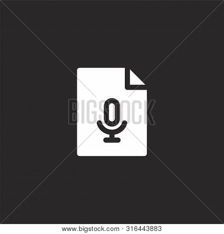 Audio File Icon. Audio File Icon Vector Flat Illustration For Graphic And Web Design Isolated On Bla