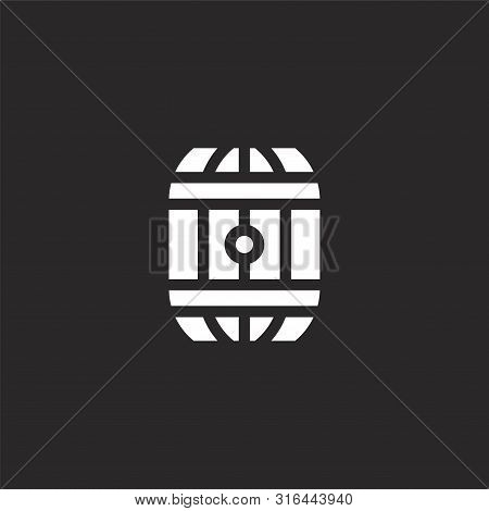 Barrel Icon. Barrel Icon Vector Flat Illustration For Graphic And Web Design Isolated On Black Backg