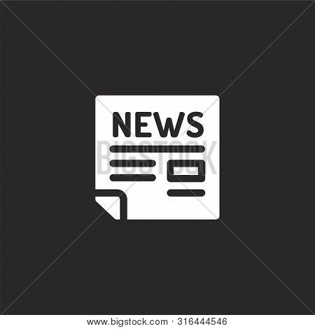 Newspaper Icon. Newspaper Icon Vector Flat Illustration For Graphic And Web Design Isolated On Black