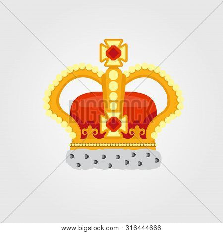 Crown Color Vector Illustration On White Background.