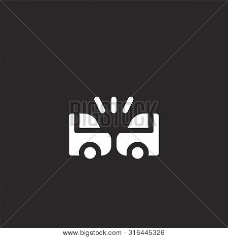 Car Crash Icon. Car Crash Icon Vector Flat Illustration For Graphic And Web Design Isolated On Black
