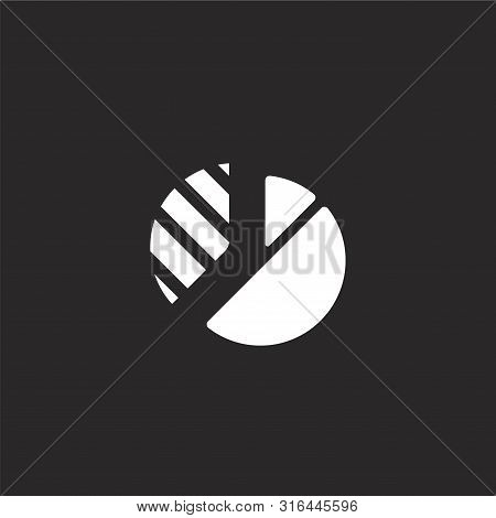 Pie Chart Icon. Pie Chart Icon Vector Flat Illustration For Graphic And Web Design Isolated On Black