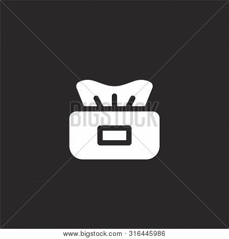 Tissue Icon. Tissue Icon Vector Flat Illustration For Graphic And Web Design Isolated On Black Backg