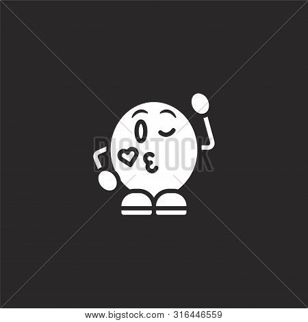 Wink Icon. Wink Icon Vector Flat Illustration For Graphic And Web Design Isolated On Black Backgroun