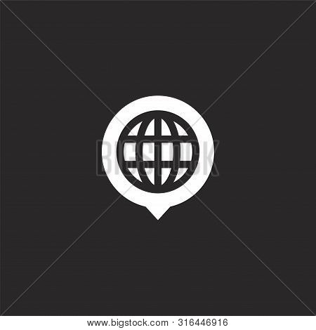 Globe Icon. Globe Icon Vector Flat Illustration For Graphic And Web Design Isolated On Black Backgro