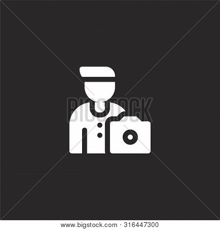 Photographer Icon. Photographer Icon Vector Flat Illustration For Graphic And Web Design Isolated On
