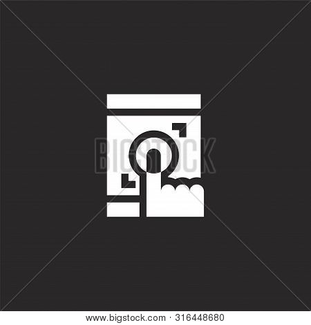 Touch Icon. Touch Icon Vector Flat Illustration For Graphic And Web Design Isolated On Black Backgro