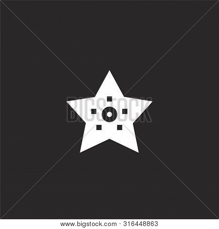 Starfish Icon. Starfish Icon Vector Flat Illustration For Graphic And Web Design Isolated On Black B