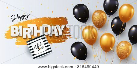 Happy Birthday Card. Holiday Illustration With Gift Box, Black And Gold Balloons, Confetti And Textu