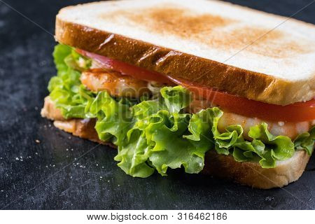 Fresh Sandwich With Shrimp And Egg In Swedish Style